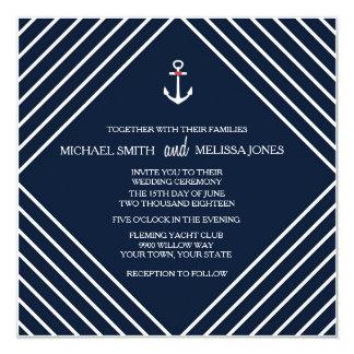 Navy Blue Nautical Yacht Wedding Invitation