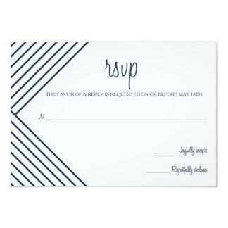 Navy Blue Nautical Yacht Wedding RSVP Card