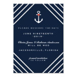 Navy Blue Nautical Yacht Wedding Save the Dates Card