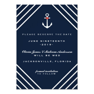 Navy Blue Nautical Yacht Wedding Save the Dates Card