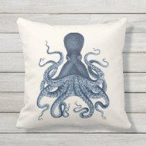 Navy Blue Octopus Illustration on Cream Outdoor Pillow
