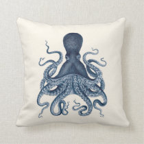 Navy Blue Octopus Illustration on Cream Throw Pillow