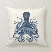 Navy Blue Octopus Illustration on Cream Throw Pillow
