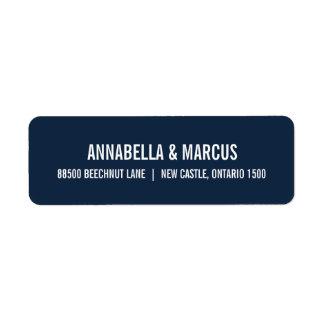 Navy Blue Old Fashion Typography Address Label