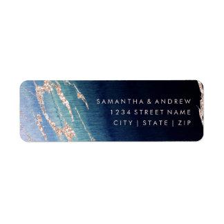 Navy Blue Ombre Agate Gold Wedding Return Address Label