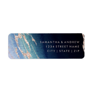 Navy Blue Ombre Agate Gold Wedding Return Address Label