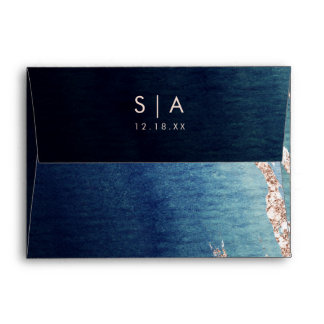 Navy Blue Ombre Agate & Rose Gold Wedding Monogram Envelope