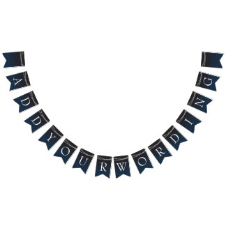 Navy Blue Ombre Lights Typography Wedding Bunting Flags