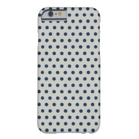 Navy Blue on Gray Tiny Little Polka Dots Pattern Barely There iPhone 6 Case