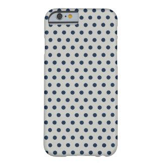 Navy Blue on Gray Tiny Little Polka Dots Pattern iPhone 6 Case