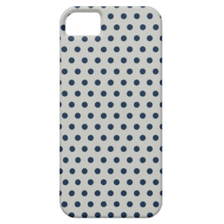 Navy Blue on Gray Tiny Little Polka Dots Pattern iPhone 5 Covers