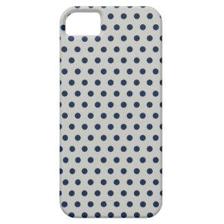 Navy Blue on Gray Tiny Little Polka Dots Pattern iPhone SE/5/5s Case