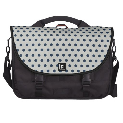 Navy Blue on Gray Tiny Little Polka Dots Pattern Commuter Bags