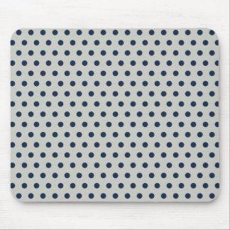 Navy Blue on Gray Tiny Little Polka Dots Pattern Mouse Pad