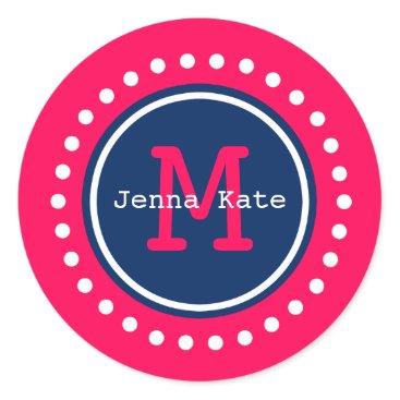Aztec Themed Navy Blue on Summer Pink Polka Dot Monogram Classic Round Sticker