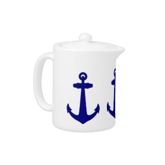 Navy Blue On White Coastal Decor Anchor Teapot