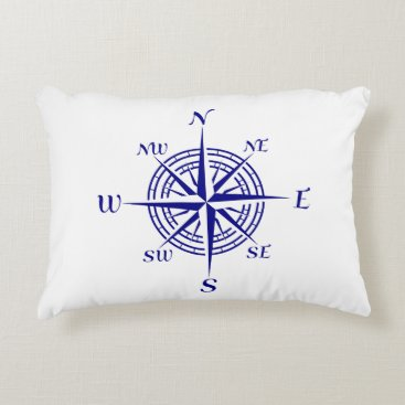 Beach Themed Navy Blue On White Coastal Decor Compass Rose Accent Pillow