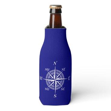 Beach Themed Navy Blue On White Coastal Decor Compass Rose Bottle Cooler