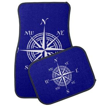 Beach Themed Navy Blue On White Coastal Decor Compass Rose Car Floor Mat