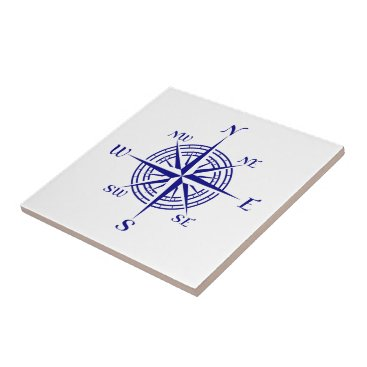 Beach Themed Navy Blue On White Coastal Decor Compass Rose Ceramic Tile