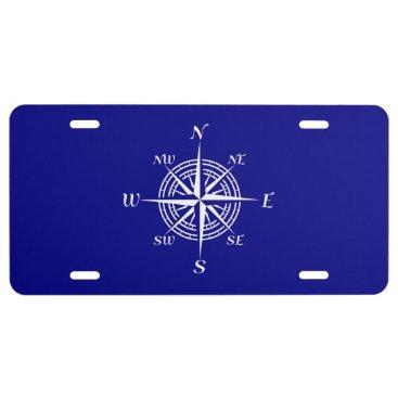 Beach Themed Navy Blue On White Coastal Decor Compass Rose License Plate
