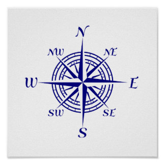 Navy Blue On White Coastal Decor Compass Rose Poster