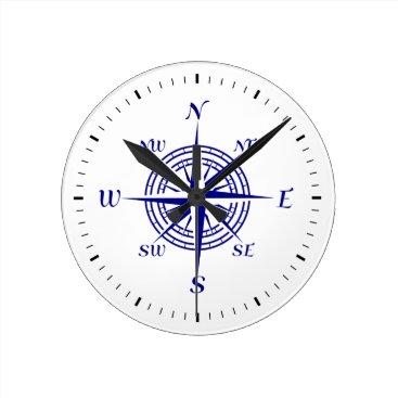 Beach Themed Navy Blue On White Coastal Decor Compass Rose Round Clock