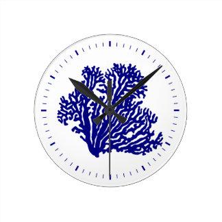 Navy Blue On White Coastal Decor Coral Round Clock