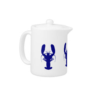 Navy Blue On White Coastal Decor Lobster Teapot