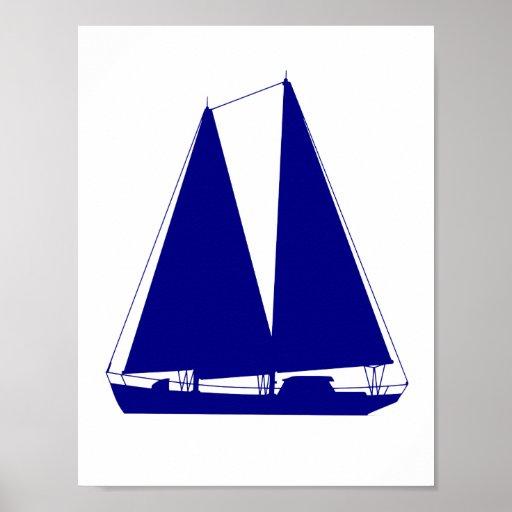 Navy Blue On White Coastal Decor Sailboat Poster