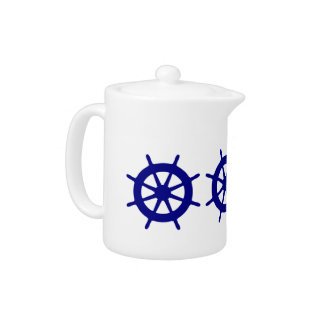 Navy Blue On White Coastal Decor Ship Wheel Teapot