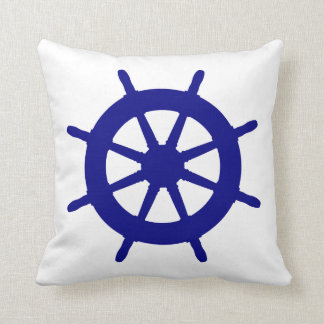 Navy Blue On White Coastal Decor Ship Wheel Throw Pillow