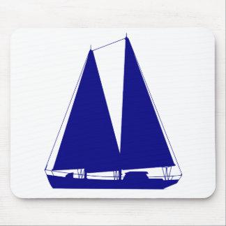 Navy Blue On White Coastal Sailboat Mouse Pad