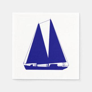 Navy Blue On White Coastal Sailboat Napkin
