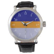 Navy Blue, Orange, and Periwinkle Wristwatch