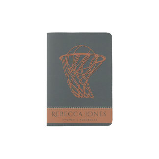 NAVY BLUE ORANGE BASKETBALL NET LEATHER MONOGRAM PASSPORT HOLDER