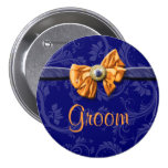 Navy blue orange bridal party wedding pinback button