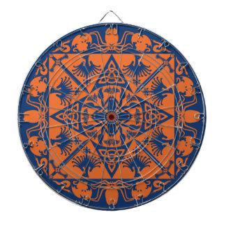 Navy Blue Orange Celtic Medieval Fantasy Dartboard