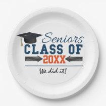 Navy Blue Orange Graduation Party Plates
