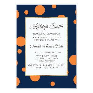 Navy Blue Orange Polka Dot College Trunk Party Invitation