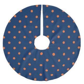 Navy Blue & Orange Polka Dots Pattern Brushed Polyester Tree Skirt