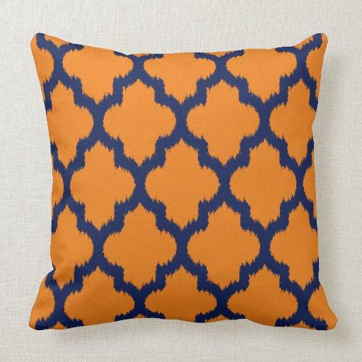 Navy Blue & Orange Quatrefoil Ikat Pattern Throw Pillow Zazzle