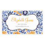 Navy Blue & Orange Retro Floral Damask Double-Sided Standard Business Cards (Pack Of 100)