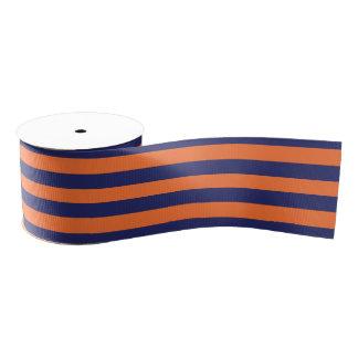 Navy Blue & Orange Striped   Any Length   Custom Grosgrain Ribbon