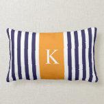 Navy Blue Orange Stripes Monogram Pillows