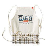 Navy Blue Orange Typography Graduation Apron