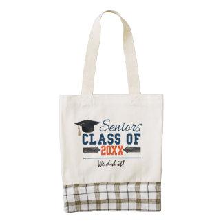 Navy Blue Orange Typography Graduation Bag