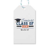 Navy Blue Orange Typography Graduation Gift Tags