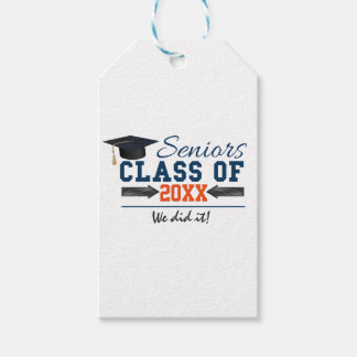 Navy Blue Orange Typography Graduation Gift Tags