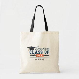 Navy Blue Orange Typography Graduation Tote Bag